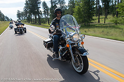 On the Mayor's Ride during the annual Sturgis Black Hills Motorcycle Rally.  SD, USA.  August 8, 2016.  Photography ©2016 Michael Lichter.