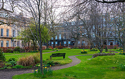 Private garden in Rutland Square in Edinburgh, Scotland,UK