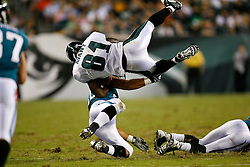 Philadelphia Eagles wide receiver Jason Avant #81 is knocked off of his feet during the NFL game between the Jacksonville Jaguars and the Philadelphia Eagles on August 27th 2009. The Eagles won 33-32 at Lincoln Financial Field in Philadelphia, Pennsylvania.  (Photo By Brian Garfinkel)