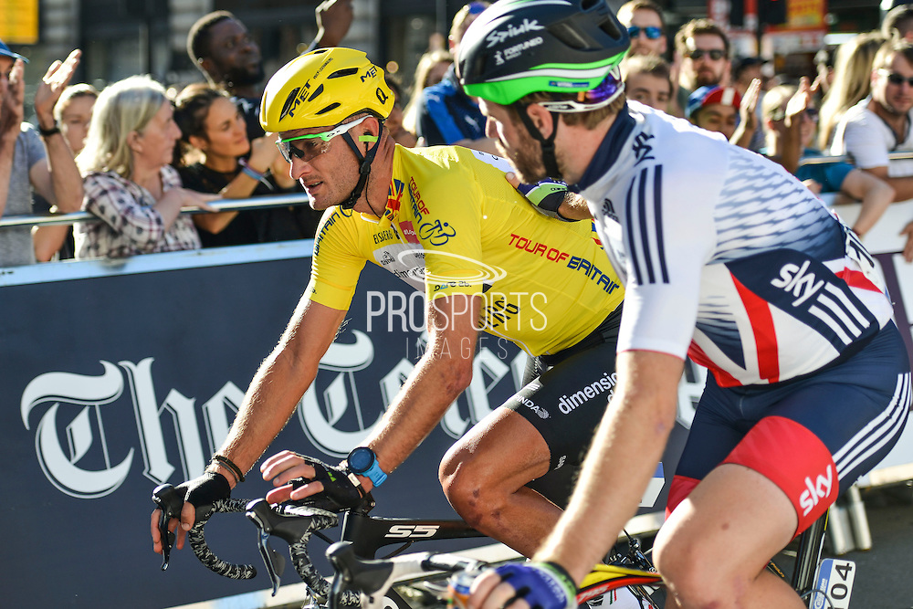 Steve Cummings of Great Britain and Team Dimension Data congratulated by Dan McLay (GBR) of Great Britain (Team) during the Tour of Britain 2016 stage 8 , London, United Kingdom on 11 September 2016. Photo by Mark Davies.