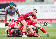 Scarlets' Gareth Davies in action during todays match.<br /> Guinness Pro14 rugby match, Scarlets v Southern Kings at the Parc y Scarlets in Llanelli, Carms, Wales on Saturday 2nd September 2017.<br /> pic by Craig Thomas, Andrew Orchard sports photography.