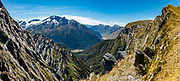 Rob Roy Peak above Matukituki Valley, seen from Cascade Saddle in Mount Aspiring National Park, Otago region, South Island of New Zealand. Cascade Saddle is a spectacular 20-kilometer side trip from Dart Hut on the Rees-Dart Track. This image was stitched from multiple overlapping photos.