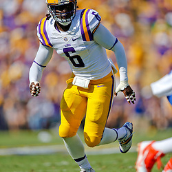 Oct 12, 2013; Baton Rouge, LA, USA; LSU Tigers safety Craig Loston (6) against the Florida Gators during the first quarter of a game at Tiger Stadium. Mandatory Credit: Derick E. Hingle-USA TODAY Sports
