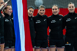 (L-R) Merel Freriks of Netherlands, Martine Smeets of Netherlands, Angela Malestein of Netherlands, Nikita Van Der Vliet of Netherlands,Rinka Duijndam of Netherlands be ready to listen to the national anthem  during the Women's EHF Euro 2020 match between Netherlands and Hungry at Sydbank Arena on december 08, 2020 in Kolding, Denmark (Photo by RHF Agency/Ronald Hoogendoorn)