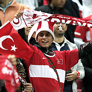 Turkey's supporters during their UEFA EURO 2012 Qualifying round Group A soccer match Turkey betwen Azerbaijan at TT Arena in Istanbul October 11, 2011. Photo by TURKPIX
