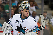 DALLAS, TX - OCTOBER 17:  Antti Niemi #31 of the San Jose Sharks looks on against the Dallas Stars on October 17, 2013 at the American Airlines Center in Dallas, Texas.  (Photo by Cooper Neill/Getty Images) *** Local Caption *** Antti Niemi