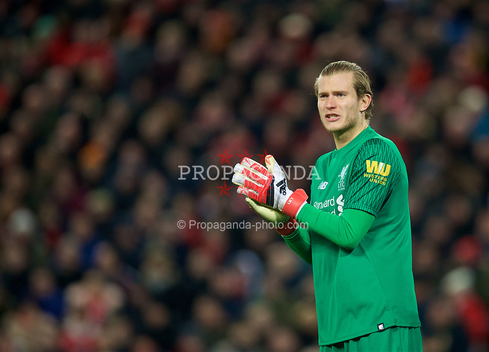 LIVERPOOL, ENGLAND - Sunday, February 4, 2018: Liverpool's goalkeeper Loris Karius during the FA Premier League match between Liverpool FC and Tottenham Hotspur FC at Anfield. (Pic by David Rawcliffe/Propaganda)
