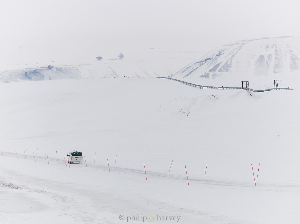 A road leading out of town in Longyearbyen, the largest settlement on the Svalbard archipelago in the Arctic Circle, on Spitbergen, Norway