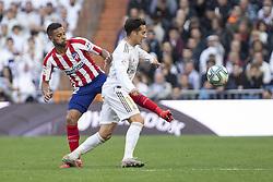 Real Madrid´s Luka Jovic and Atletico de Madrid´s Renan Lodi during La Liga Real Madrid v Atletico de Madrid football match at Santiago Bernabeu Stadium in Madrid, Spain. February 01, 2020. Photo by David Jar/AlterPhotos/ABACAPRESS.COM