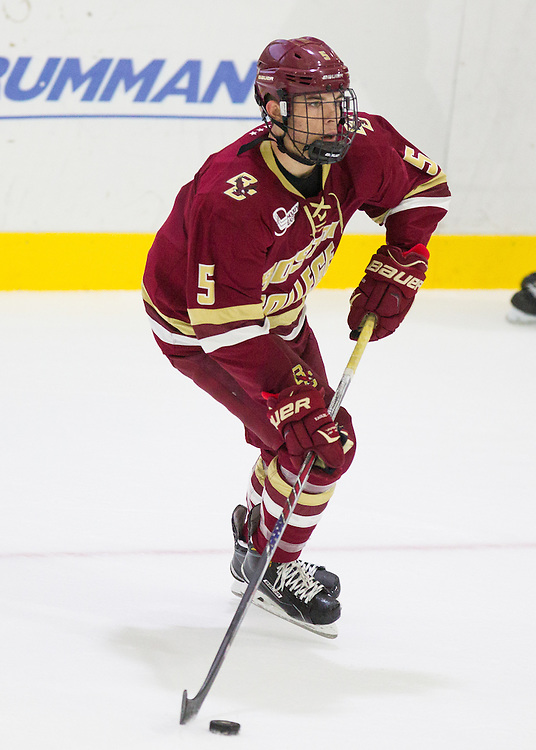 Boston College Defenseman Casey Fitzgerald (5) during the first period of a NCAA hockey game between Army and Boston College at Tate Rink on October 9, 2015 in West Point, New York. (Dustin Satloff)