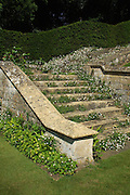 Creeping erigeron daisies tumble down the steps of an impressive lichen-encrusted Cotswold stone stairway.<br /> <br /> Date taken: 16 June 2010.
