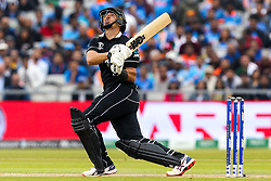 Ross Taylor of New Zealand skies a shot - Mandatory by-line: Robbie Stephenson/JMP - 09/07/2019 - CRICKET - Old Trafford - Manchester, England - India v New Zealand - ICC Cricket World Cup 2019 - Semi Final
