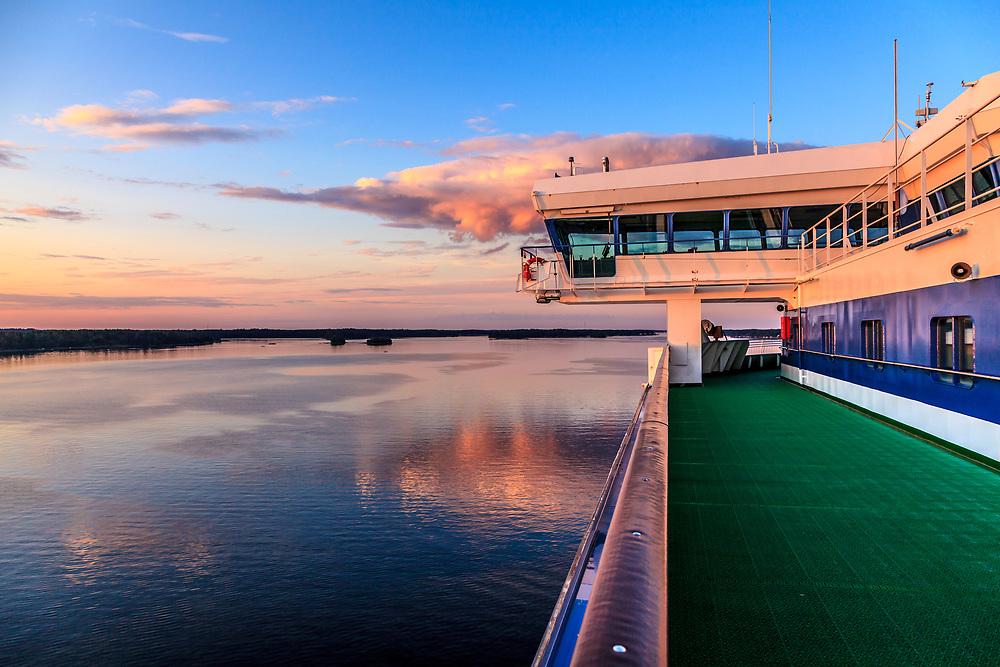 A passanger ship to Finland at Stockholm archipelago in Sweden.