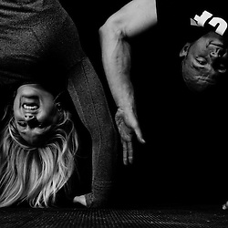 Jaelyn Wolf and Chris Hoppe attempt a high 5 while doing a handstand, Crossfit image, picture, photo, photography of health, elite, exercise, training, workouts, WODs, taken at Progressive Fitness CrossFit,Colorado Springs, Colorado, USA.