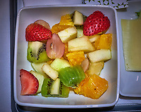 Fruit Salad. TAP Airline meal while returning from Lisbon, Portugal. Image taken with a Fuji X-T3 camera and 35 mm f/1.4 lens