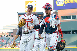 May 31, 2018 - Atlanta, GA, U.S. - ATLANTA, GA Ð MAY 31:  Atlanta starting pitcher Sean Newcomb (left) and catcher Tyler Flowers (right) talk things over prior to the start of the game between Atlanta and Washington on May 31st, 2018 at SunTrust Park in Atlanta, GA.  The Atlanta Braves beat the Washington Nationals by a score of 4 - 2.  (Photo by Rich von Biberstein/Icon Sportswire) (Credit Image: © Rich Von Biberstein/Icon SMI via ZUMA Press)