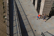 An aerial view of runners stretching on Fishmongers Hall Wharf in the City of London, on 10th October 2018, in London, England.