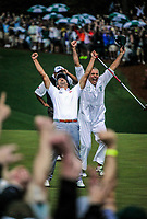 Augusta, GA -- Adam Scott celebrates after making his putt on the 2nd playoff hole to win the 2013 The Masters golf tournament at Augusta National Golf Club. -- Photo by Jack Gruber, USA TODAY