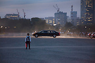 """May 27, 2019, Tokyo, Japan: President Trump's motorcade passes through the Nijubashi Bridge or """"Twin Bridges"""" gate during a visit to the Imperial Palace to meet the new Japanese emperor, Naruhito (Trump's car is the second identical limo). This was during his official state visit to Japan. The President and First Lady were greeted by the royal couple which was the first time the new emperor officially met with a world leader. Naruhito ascended the throne only three weeks earlier on May 1st. Photo by Torin Boyd."""