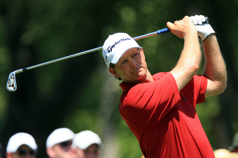 11 August 2007: Retief Goosen drives off the 4th tee during the third round of the 89th PGA Championship at Southern Hills Country Club in Tulsa, OK.