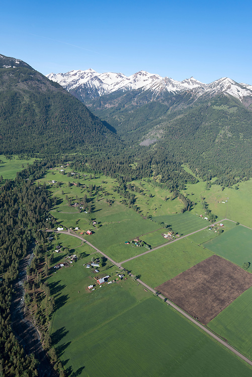 Aerial view of the Wallowa Valley and Wallowa Mountains in Northeast Oregon.