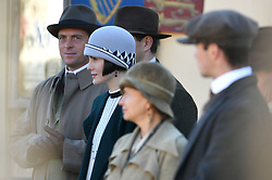 Michelle Dockery is joined by Stephen Campbell Moore on the Downton Abbey film set in Lacock, Wiltshire.