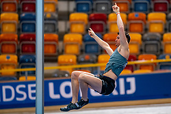 Owen Beuckens in action on pole vault during the Dutch Athletics Championships on 14 February 2021 in Apeldoorn