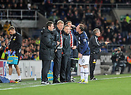Manchester United Manager David Moyes chats to Wayne Rooney as he takes a drink on the touchline.<br /> Barclays Premier League match, Cardiff city v Manchester Utd at the Cardiff city stadium in Cardiff, South Wales on Sunday 24th Nov 2013. pic by Phil Rees, Andrew Orchard sports photography,