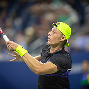 2019 US Open Tennis Tournament- Day Six.  Denis Shapovalov of Canada in action against Gael Monfils of France in the Men's Singles round three match on Louis Armstrong Stadium during the 2019 US Open Tennis Tournament at the USTA Billie Jean King National Tennis Center on August 31st, 2019 in Flushing, Queens, New York City.  (Photo by Tim Clayton/Corbis via Getty Images)