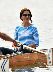 The Duchess of Cambridge in a boat after a competitive race between the twinned town of Cambridge and Heidelberg, Germany.