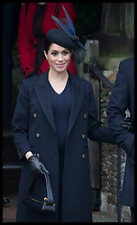 December 25, 2018 - Sandringham, United Kingdom - Image licensed to i-Images Picture Agency. 25/12/2018. Sandringham , United Kingdom. Meghan Markle, The Duchess of Sussex , leaving the  Christmas Day church service at Sandringham in Norfolk, United Kingdom. (Credit Image: © Stephen Lock/i-Images via ZUMA Press)
