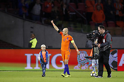 (L-R)  Kai Robben, Arjen Robben of Holland, Luka Robben during the FIFA World Cup 2018 qualifying match between The Netherlands and Sweden at the Amsterdam Arena on October 10, 2017 in Amsterdam, The Netherlands