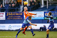 Luton Town midfielder Alan McCormack beats Wycombe Wanderers midfielder Luke Bolton on loan from Manchester City to the ball during the EFL Sky Bet League 1 match between Luton Town and Wycombe Wanderers at Kenilworth Road, Luton, England on 9 February 2019.