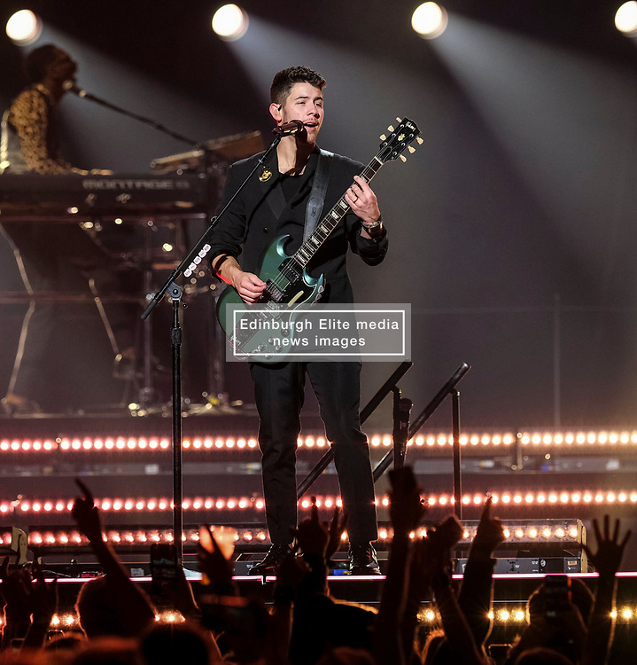 Jonas Brothers performing live on stage during their 'Happiness Begins Tour' at SSE Hydro, Glasgow <br /> <br /> (c) Aimee Todd   Edinburgh Elite media