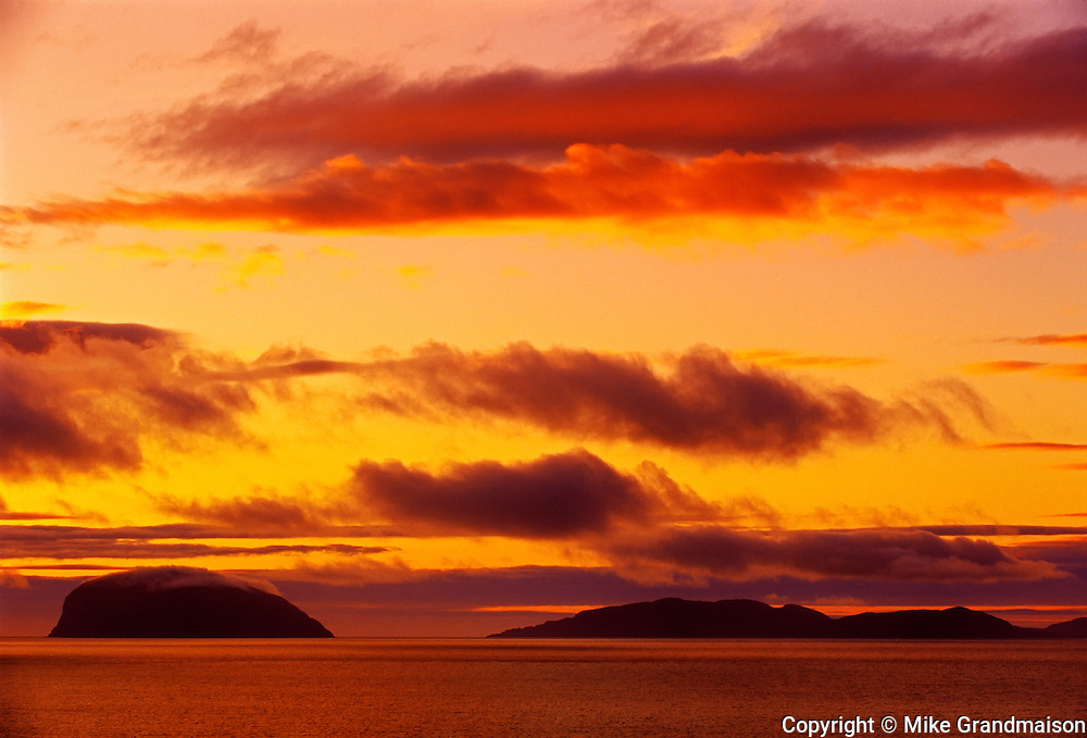 Fiery sky over The Humber River<br /> York Harbour<br /> Newfoundland<br /> Canada