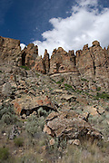 Pallisades cliffs, part of Clarno National Monument, Oregon. This area is noted for its abundance of anicent fossils visible in the rocks and cliff faces.