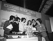 9/1/76.1/9/76.9th January 1976.The Aer Lingus Young Scientist Exhibition at the RDS Dublin. ..Picture shows the group from the Bandon Vocational School, Co. Cork, who presented the project, 'An Integrated Study of Shippool Wood'. From left are Joe O'Mahony, Gearard Lordan, James Lawton, Angela O'Donovan, John Wilmot and the group project leader, Gerard Crowley.