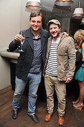 Left to right, Singers JAMES WALSH and MATT CARDLE Winner of the X-factor 2010 at a pool party to celebrate the UK launch of the Omega Ladymatic Collection held at the Haymarket Hotel, Haymarket, London on 16th June 2011.