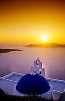Sunset, village of Firostefani, island of Santorini, the Cyclades, Greece