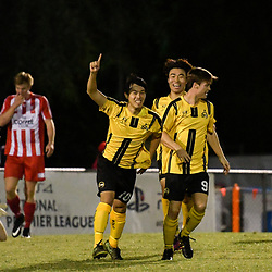 BRISBANE, AUSTRALIA - APRIL 13: Donggyu Lee of Moreton Bay celebrates scoring a goal during the NPL Queensland Senior Men's Round 4 match between Olympic FC and Moreton Bay Jets at Goodwin Park on April 13, 2017 in Brisbane, Australia. (Photo by Patrick Kearney/Olympic FC)
