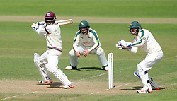 Somerset's Abdur Rehman cuts the ball. - Photo mandatory by-line: Harry Trump/JMP - Mobile: 07966 386802 - 15/06/15 - SPORT - CRICKET - LVCC County Championship - Division One - Day Two - Somerset v Nottinghamshire - The County Ground, Taunton, England.