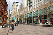 The Hayes pedestrianised shopping street in city centre of Cardiff, South Wales, UK