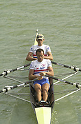 Seville, Andalusia, SPAIN<br /> <br /> 2002 World Rowing Championships - Seville - Spain Sunday 15/09/2002.<br /> <br /> Rio Guadalquiver Rowing course<br /> <br /> GBR LM2X Tim Male bow and Tom Kay<br /> <br /> [Mandatory Credit:Peter SPURRIER/Intersport Images]