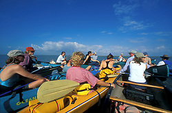 Group of ocean canoes in the Galveston Bay