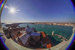 A fisheye view of Venice taken from the bell tower of the Church of the Santissimo Redentore. From a series of travel photos in Italy. Photo date: Wednesday, February 13, 2019. Photo credit should read: Richard Gray/EMPICS