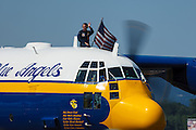 Blue Angels' Fat Albert taxiing at the Oregon International Airshow.