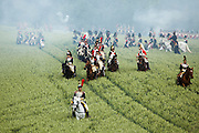 The Battle of Waterloo was re-enacted by a few hundred actors in the fields near Waterloo, where Napoleon Bonaparte and his French army were conquered almost 200 years ago, in 1815, by soldiers of England, Scotland, Prussia, and the Netherlands.