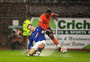 Scottish Clydesdale Bank Premier League, Championship Season 2009/10.Dundee United Football Club  V Rangers Football Club... Jennison Myrie-Willians of Dundee United and Rangers Sasa Papac   , during today's thrilling Premier League encounter between Dundee United and Rangers at Tannadice Stadium, Dundee...Picture, Mark Davison/PLPA.