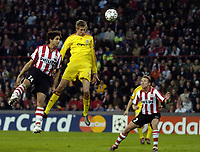 Photo: RIchard Lane.<br />PSV Eindhoven v Liverpool. UEFA Champions League, Quarter Final, 1st Leg. 03/04/2007. Liverpool's Peter Crouch heads in the third goal.