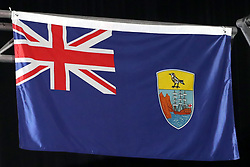 A general view of the flag of St. Helena and Dependencies at the Carrara Stadium during day seven of the 2018 Commonwealth Games in the Gold Coast, Australia. PRESS ASSOCIATION Photo. Picture date: Wednesday April 11, 2018. See PA story COMMONWEALTH Athletics. Photo credit should read: Danny Lawson/PA Wire. RESTRICTIONS: Editorial use only. No commercial use. No video emulation.